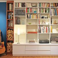 Bücherregal aus gewachstem Birkenholz und Mahagoni