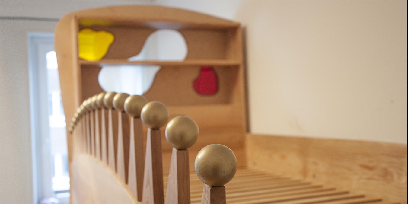 Kinderhochbett Mädchen aus Eschenholz