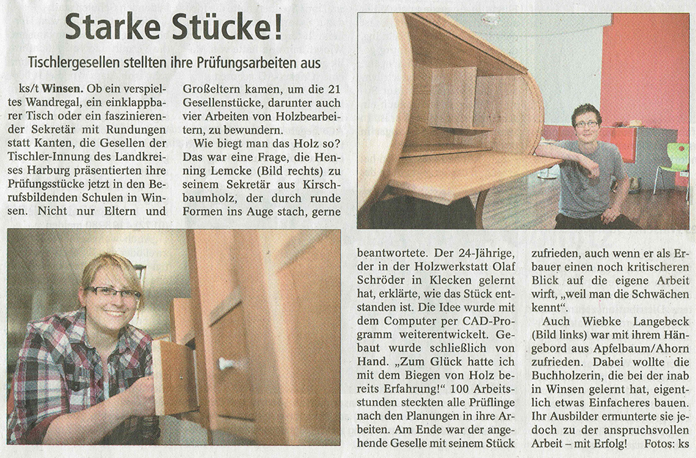 Zeitungsausschnitt aus der Winsener Zeitung mit einem Artikel zu den Gesellenstücken