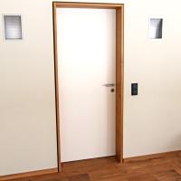 Weiße Zimmertür mit Rahmen aus massivem Holz